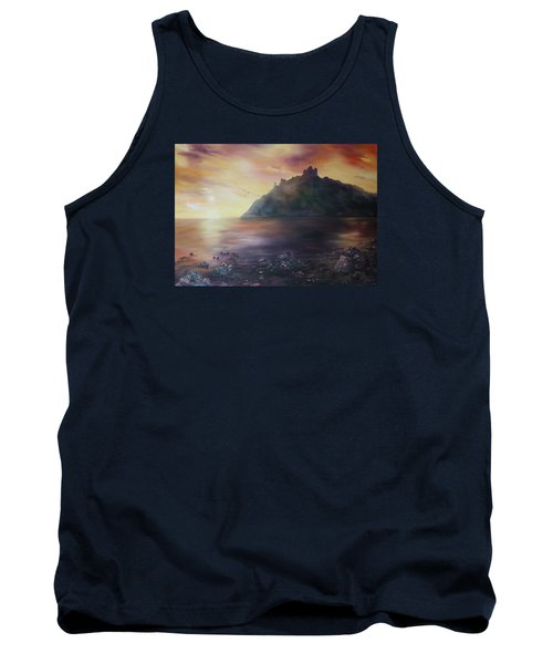 Tank Top featuring the painting Criccieth Castle North Wales by Jean Walker