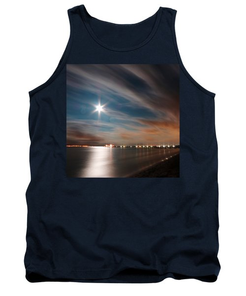 Moon Rise Over Anna Maria Island Historic City Pier Tank Top