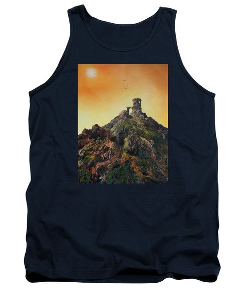 Tank Top featuring the painting Mow Cop Castle Staffordshire by Jean Walker