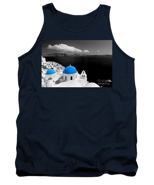 Oia Town On Santorini Island Greece Blue Dome Church Black And White. Tank Top