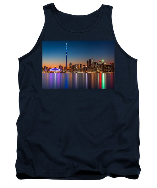 Toronto Skyline At Dusk Tank Top