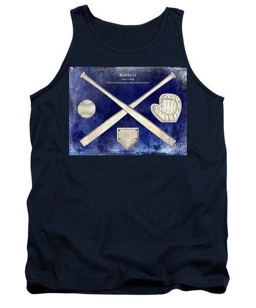 1838 Baseball Drawing 2 Tone Blue Tank Top