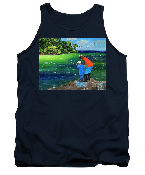 Tank Top featuring the painting Fishing Buddies by Laura Forde