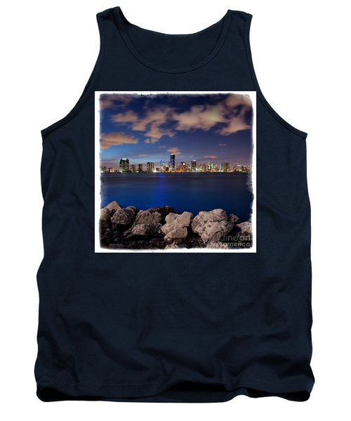 Tank Top featuring the photograph Miami Skyline At Night by Carsten Reisinger
