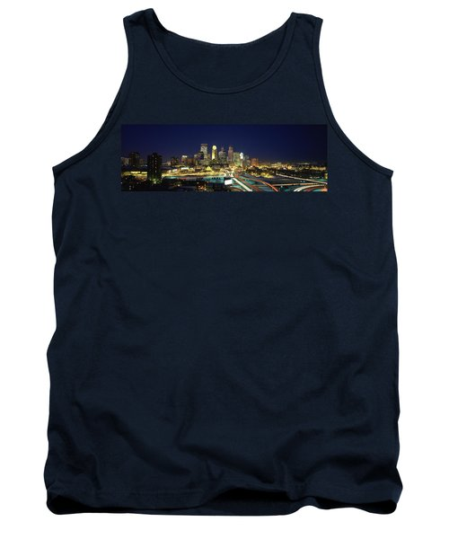 Buildings Lit Up At Night In A City Tank Top