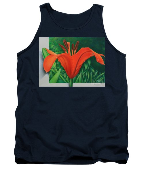 Tank Top featuring the painting Orange Lily by Pamela Clements