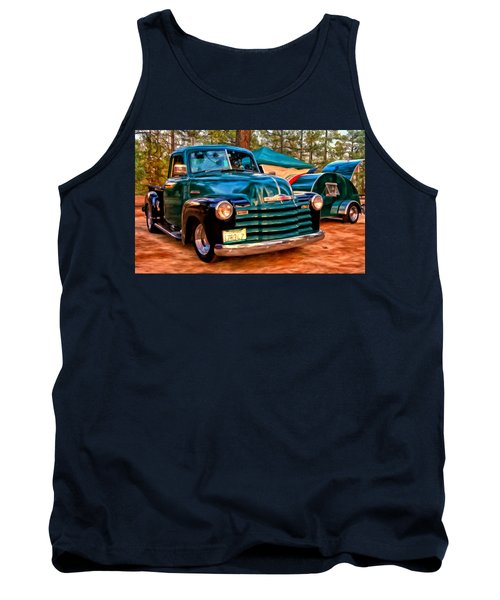 Tank Top featuring the painting '51 Chevy Pickup With Teardrop Trailer by Michael Pickett
