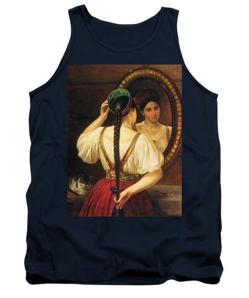 A Girl At The Mirror, 1848 Oil On Canvas Tank Top