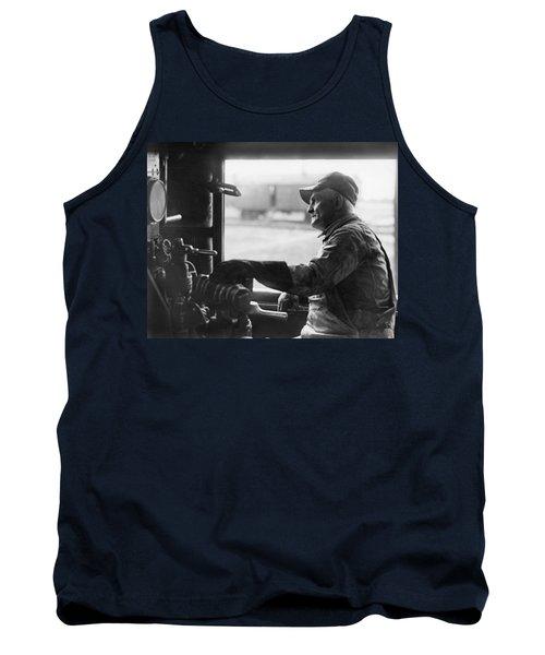 A Railroad Engineer At Work Tank Top