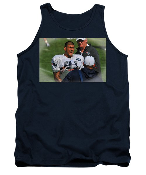 Tank Top featuring the photograph Aaron Hernandez With Patriots Coaches by Mike Martin