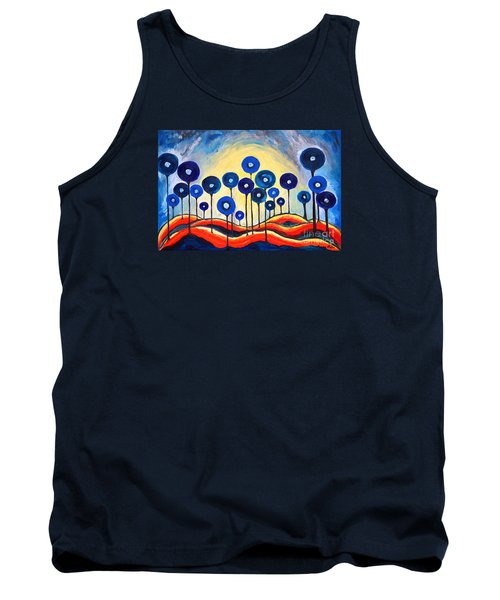 Abstract Blue Symphony  Tank Top by Ramona Matei