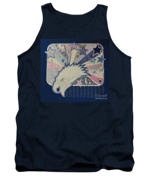 American Bald Eagle Embroidery Tank Top