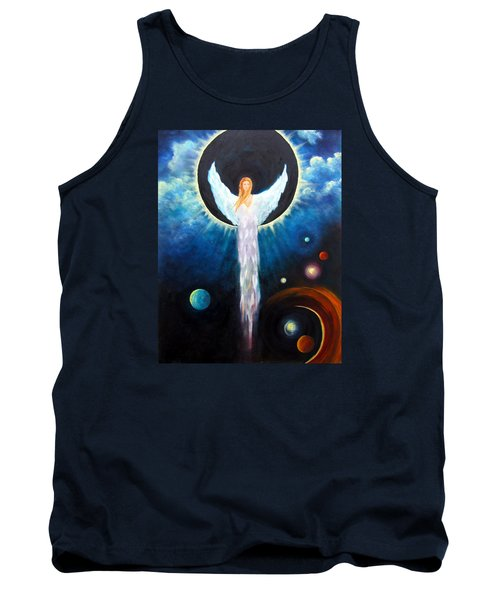 Tank Top featuring the painting Angel Of The Eclipse by Marina Petro