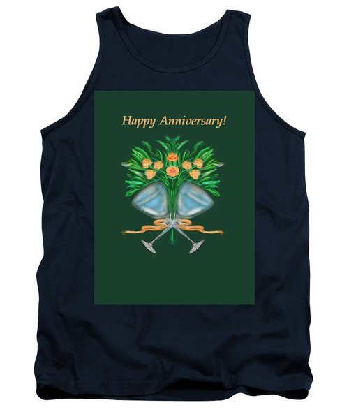 Tank Top featuring the digital art Anniversary Bouquet by Christine Fournier