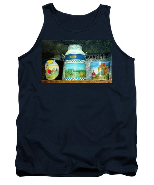 Tank Top featuring the photograph Antique Dairy Milk Can And Pails by Judy Palkimas