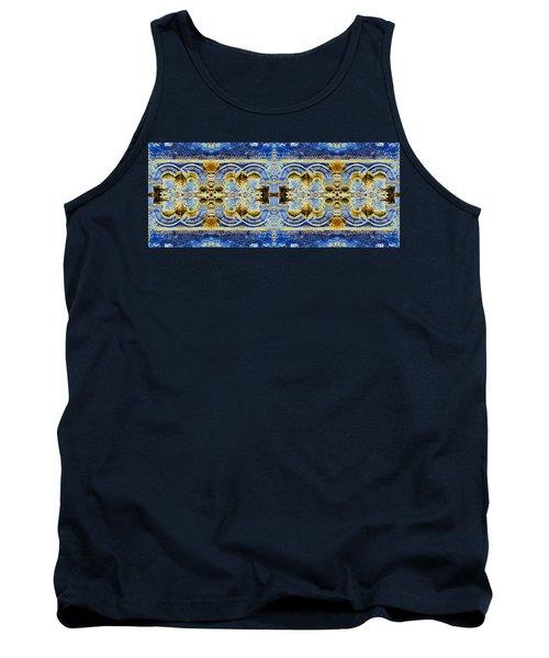 Tank Top featuring the digital art Arches In Blue And Gold by Stephanie Grant