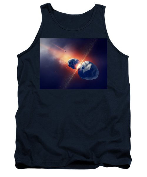 Asteroids Collide And Explode  In Space Tank Top