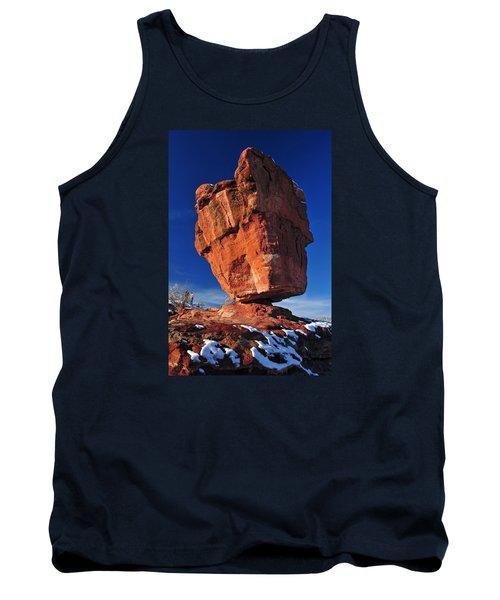 Balanced Rock At Garden Of The Gods With Snow Tank Top by John Hoffman