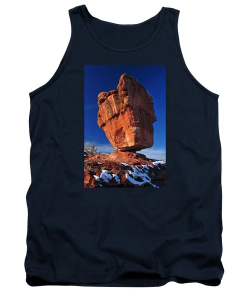 Balanced Rock At Garden Of The Gods With Snow Tank Top