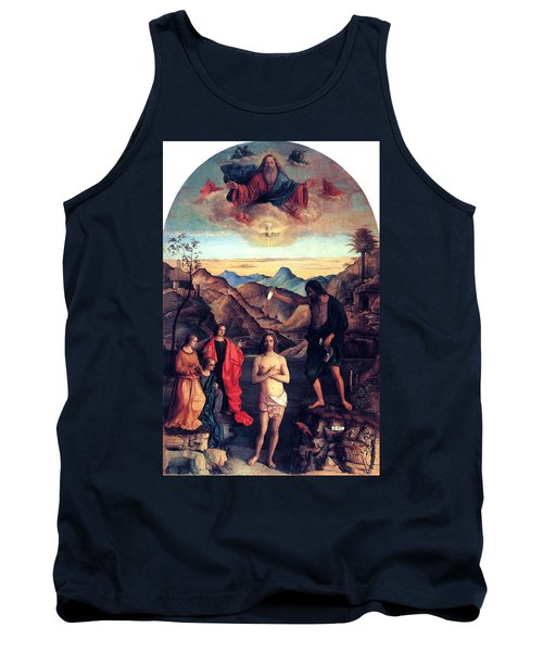 Tank Top featuring the painting Baptism Of Christ With Saint John 1502 Giovanni Bellini by Karon Melillo DeVega