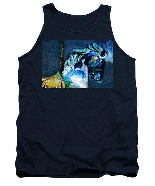 Blue Carousel Horse Tank Top