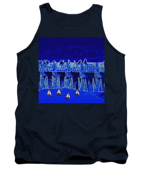 Tank Top featuring the painting Blue II Toy Sailboats In Lake Worth by David Mckinney