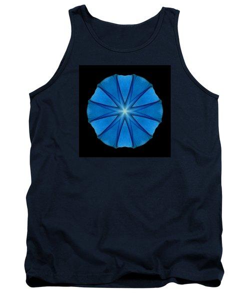 Tank Top featuring the photograph Blue Morning Glory Flower Mandala by David J Bookbinder