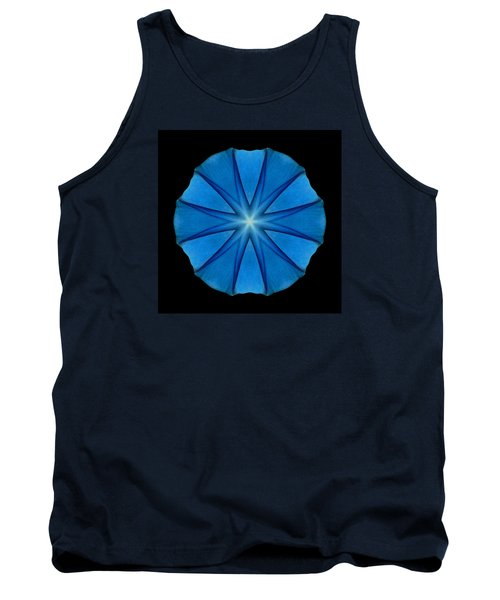 Blue Morning Glory Flower Mandala Tank Top