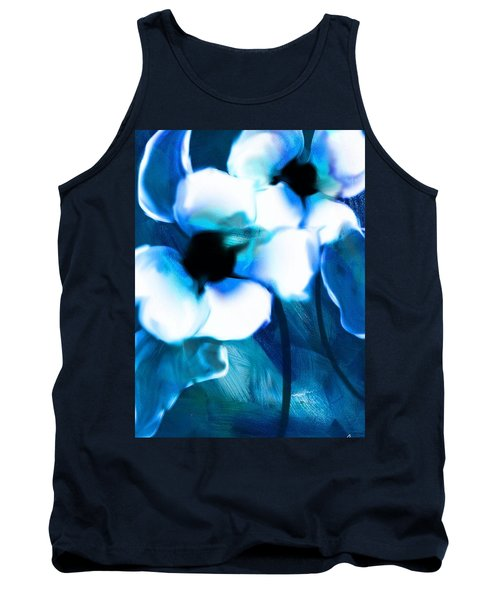 Tank Top featuring the digital art Blue Orchids  by Frank Bright