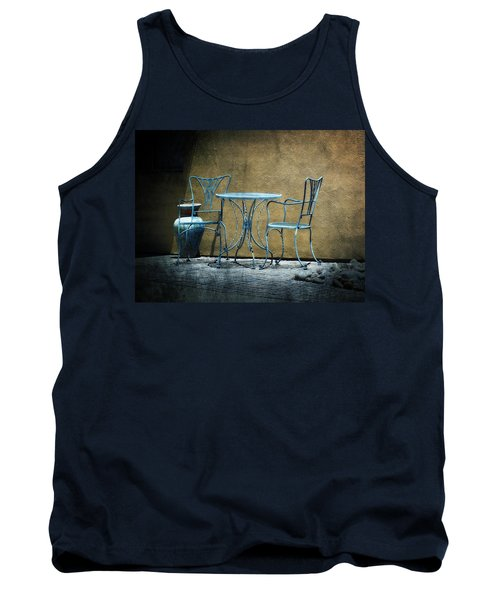 Tank Top featuring the photograph Blue Table And Chairs by Lucinda Walter