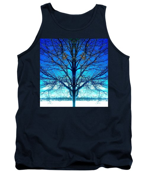 Tank Top featuring the photograph Blue Winter Tree by Marianne Dow