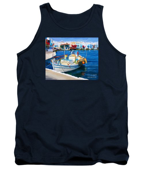Tank Top featuring the painting Boat In Greece by Tim Gilliland