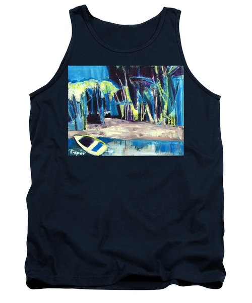 Boat On Shore Line With Trees On Land Tank Top