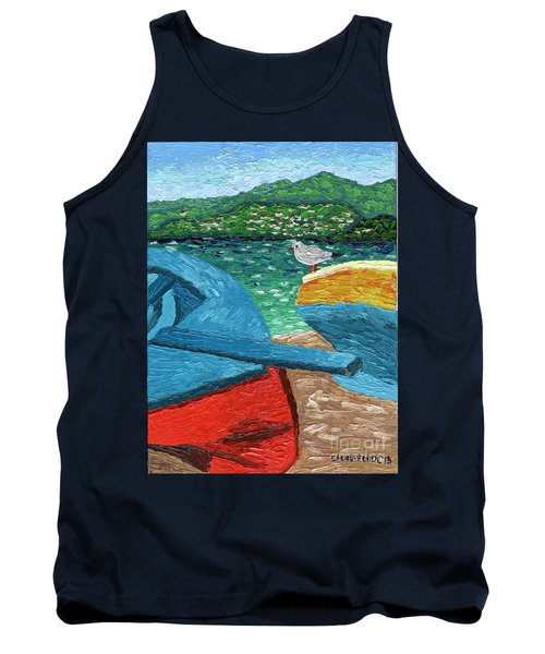 Tank Top featuring the painting Boats And Bird At Rest by Laura Forde