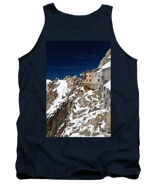 Tank Top featuring the photograph building in Aiguille du Midi - Mont Blanc by Antonio Scarpi