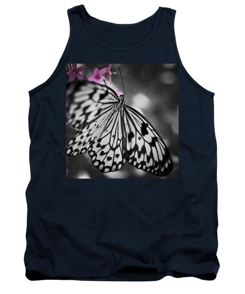Butterfly On Pink Flowers Tank Top by Bradley R Youngberg