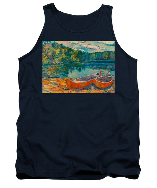 Canoes At Mountain Lake Tank Top