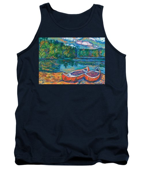 Canoes At Mountain Lake Sketch Tank Top