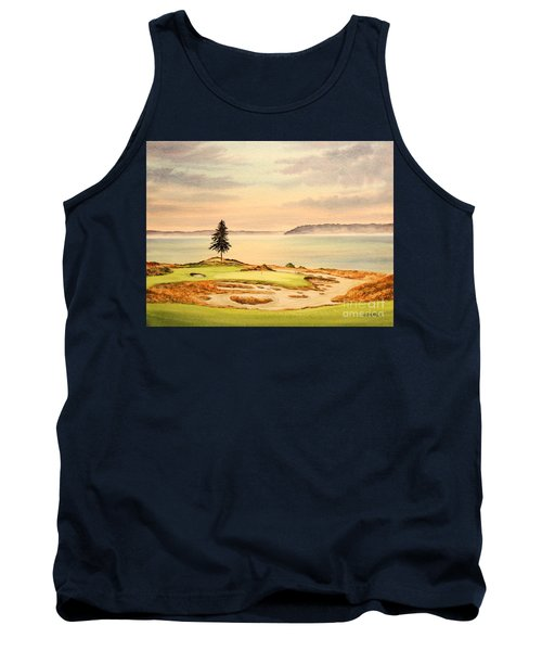 Tank Top featuring the painting Chambers Bay Golf Course Hole 15 by Bill Holkham