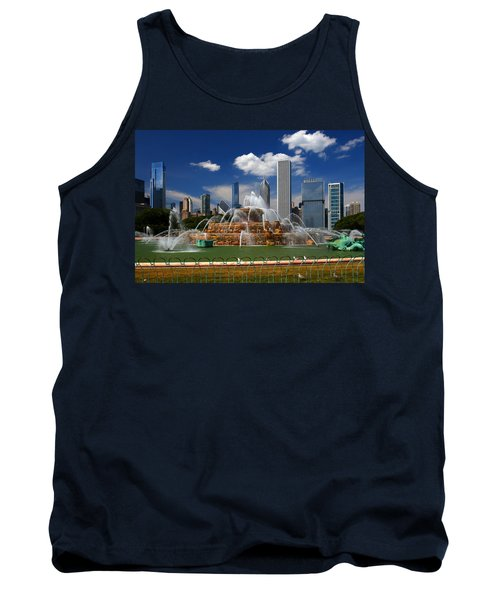 Chicago Skyline Grant Park Fountain Clouds Tank Top