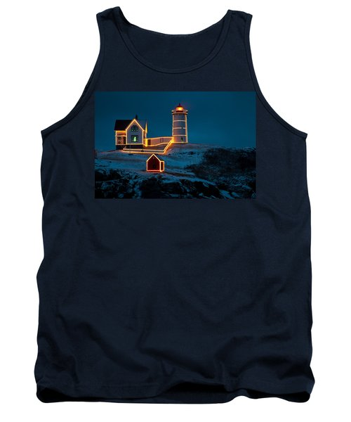 Christmas At Nubble Light Tank Top