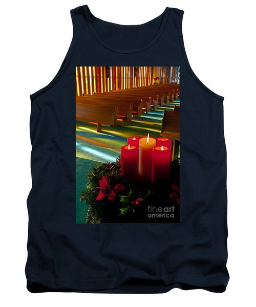 Tank Top featuring the photograph Christmas Candles At Church Art Prints by Valerie Garner