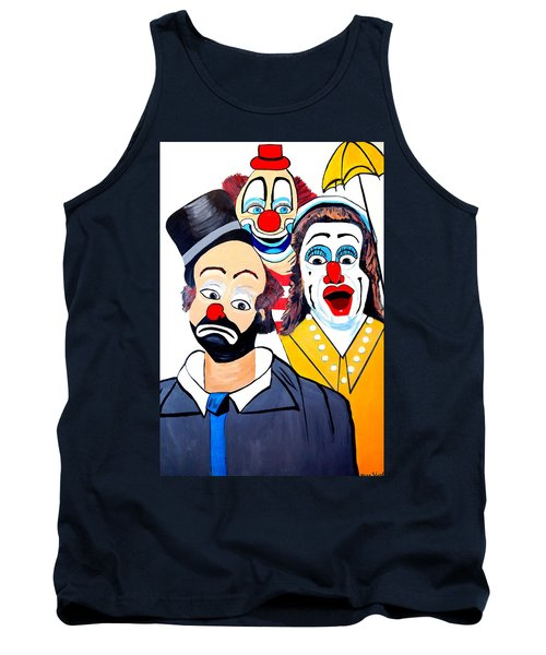 Tank Top featuring the painting Clowns In Shock by Nora Shepley