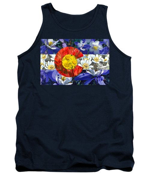 Colorado State Flag With Wildflower Textures Tank Top