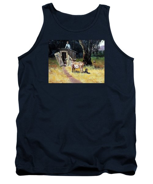 Cowboy On The Outhouse  Tank Top by Lee Piper