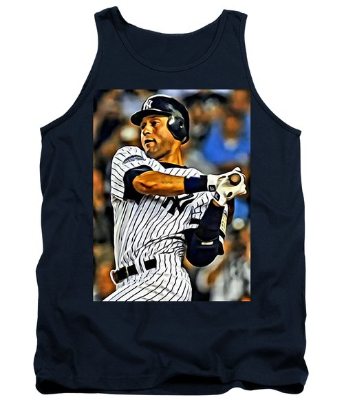 Derek Jeter In Action Tank Top by Florian Rodarte