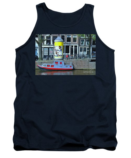 Tank Top featuring the photograph Docked In Amsterdam by Allen Beatty
