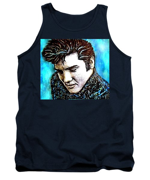 Elvis Presley Never Left The Building Alcohol Inks Tank Top by Danielle  Parent