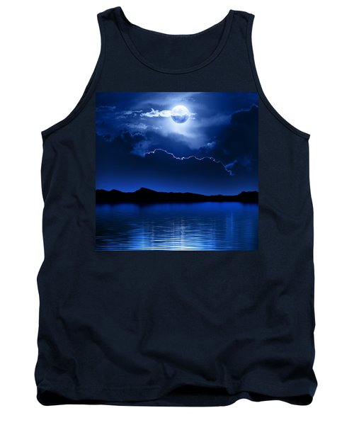 Fantasy Moon And Clouds Over Water Tank Top