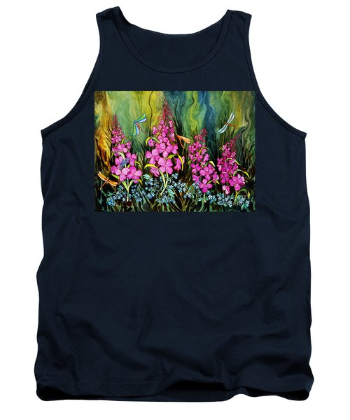 Fireweed And Dragonflies Tank Top by Teresa Ascone